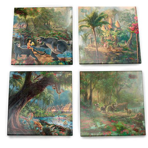 The Jungle Book Thomas Kinkade StarFire Prints Glass Coaster Set
