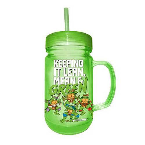 Teenage Mutant Ninja Turtles Lean, Mean, and Green 24 oz. Plastic Mason Jar