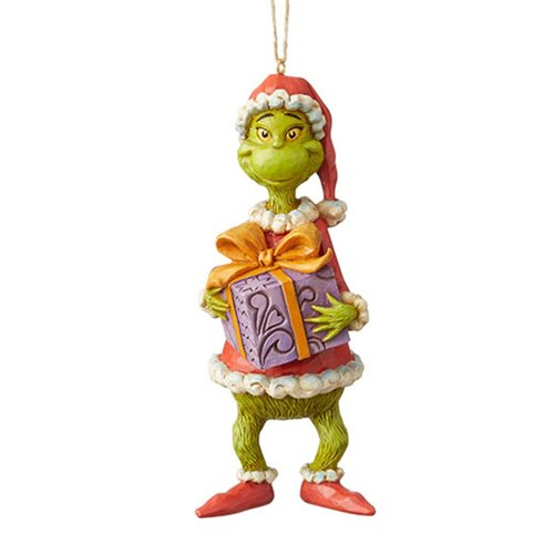 Dr. Seuss The Grinch Holding Present Holiday Ornament