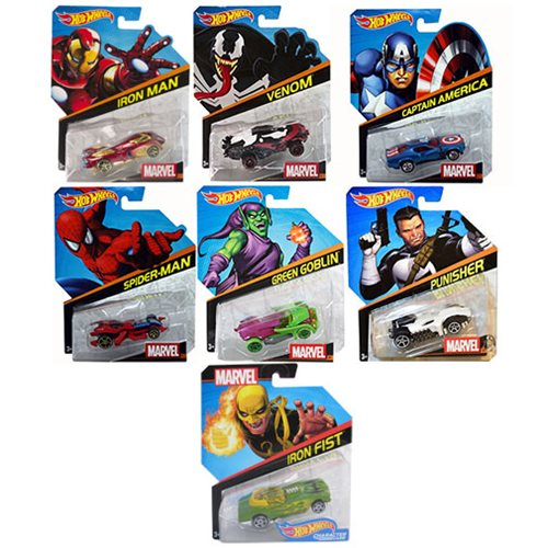 Hot Wheels Marvel Character Cars 1:64 Scale 2017 Wave 2 Case