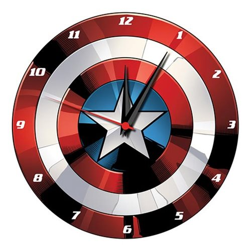 Captain America Shield 13 1/2-Inch Cordless Wood Wall Clock