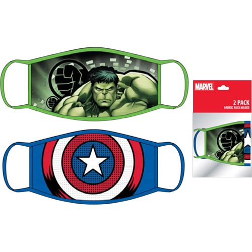 Hulk and Captain America Child's 2-Pack Face Masks