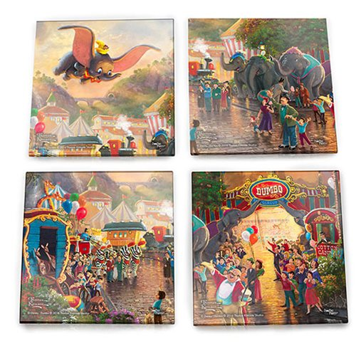 Dumbo Thomas Kinkade StarFire Prints Glass Coaster Set