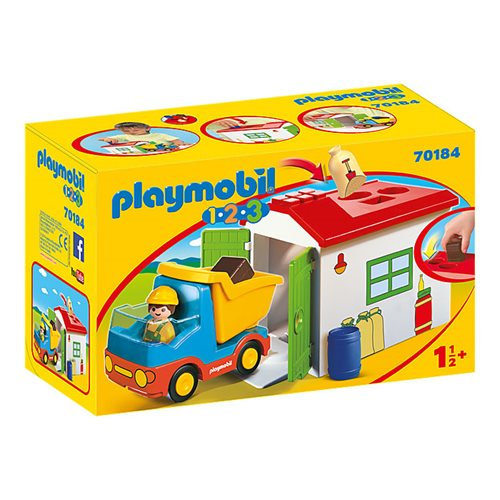 Playmobil 70184 1.2.3 Construction Truck with Garage