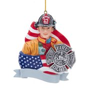Fireman Flag and Badge 4 1/4-Inch Resin Ornament