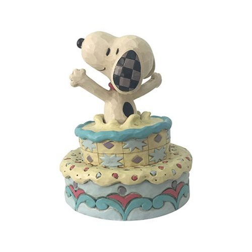 Peanuts Snoopy Jumping Out Birthday Cake Surprise by Jim Shore Statue