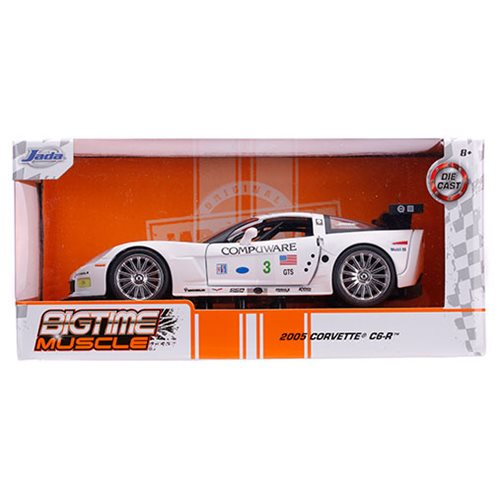 Bigtime Muscle Chevy 2005 Corvette C6R White 1:24 Scale Die-Cast Vehicle