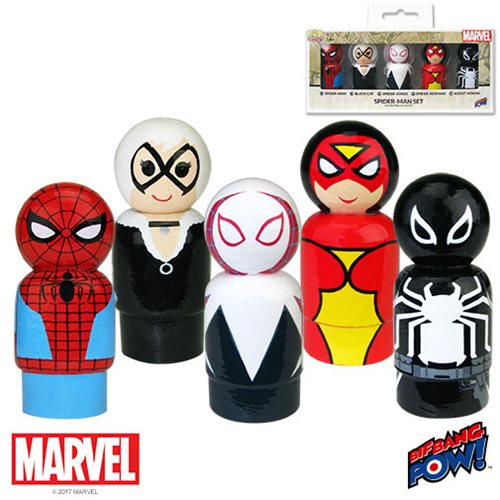 Spider-Man Pin Mate Wooden Figure Set of 5