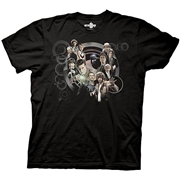 Doctor Who All Doctors and TARDIS Collage Black T-Shirt