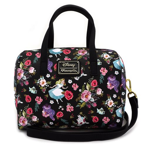 Alice in Wonderland Character Floral Print Crossbody Purse