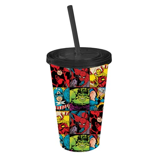 Marvel Heroes in Action Grid Plastic Travel Cup