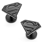 Superman Shield Satin Black Cufflinks