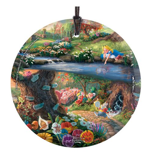 Alice in Wonderland Thomas Kinkade StarFire Prints Hanging Glass Ornament