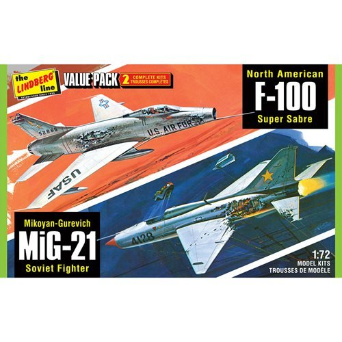 Vietnam Era Fighters F-100 Supersabre and Mig-21BD 2-Pack 1:72 Scale Model Kit