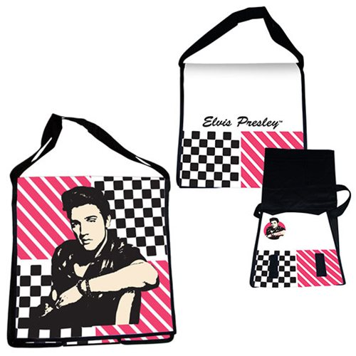 Elvis Presley Recycled Messenger Tote