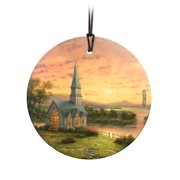 Thomas Kinkade Sunrise Chapel StarFire Prints Hanging Glass Ornament