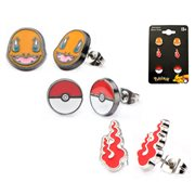 Pokemon Charmander Poke Ball and Fire Flame Stainless Steel Stud Earrings 3-Pack