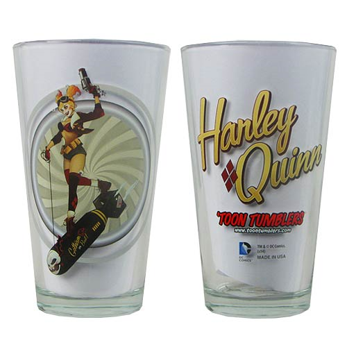 DC Comics Bombshells Harley Quinn Version 1 Toon Tumbler Pint Glass