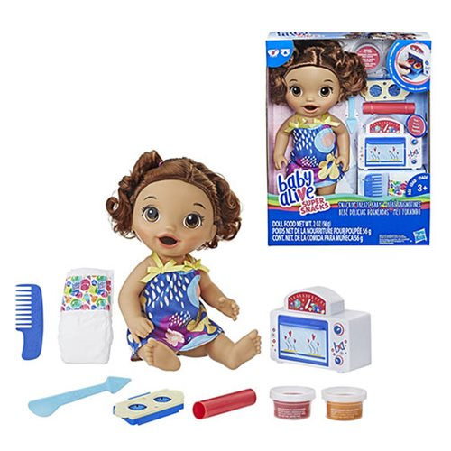 Baby Alive Snackin' Treats Baby Doll - Brown Curly Hair