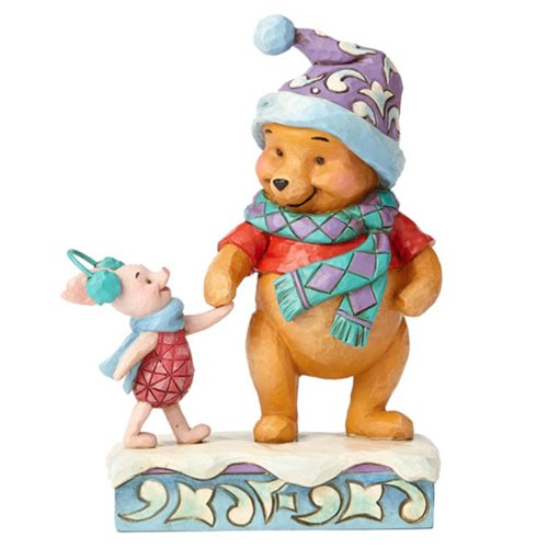 Disney Traditions Winnie the Pooh Winter Pooh and Piglet Wintry Walk Statue