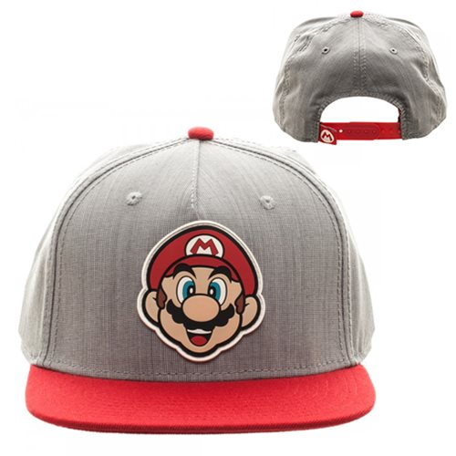 Super Mario Bros. Gray and Red Snapback Hat