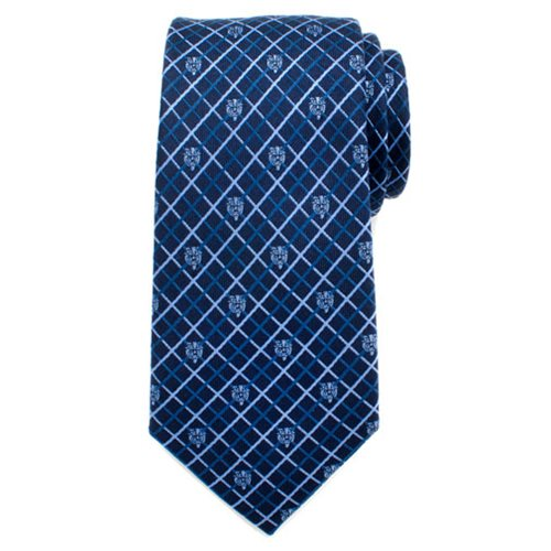 Beauty and the Beast Navy Plaid Mens Silk Tie