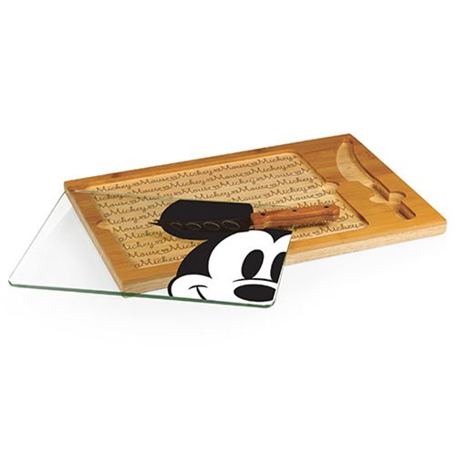 Mickey Mouse Icon Glass Top Serving Tray and Knife Set