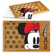 Minnie Mouse Icon Glass Top Serving Tray and Knife Set