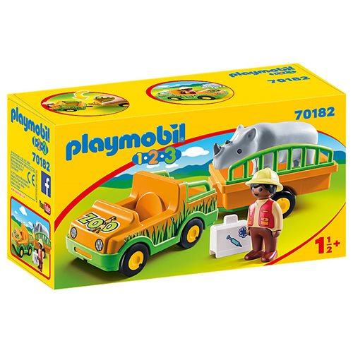 Playmobil 70182 1.2.3 Zoo Vehicle with Rhinoceros