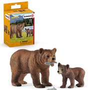 Wild Life Grizzly Bear Mother with Cub Set