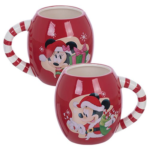 Mickey and Minnie Mouse Holiday 18 oz. Oval Ceramic Mug