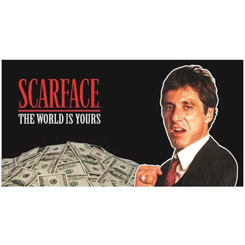 Scarface The World is Yours Black Background Glass Poster