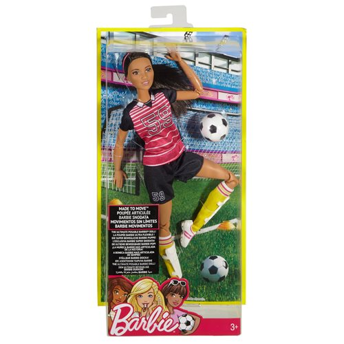 Barbie Made to Move Soccer Player Brunette Doll