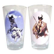 Frazetta Silver Warrior & The Huntress Pint Glass Set