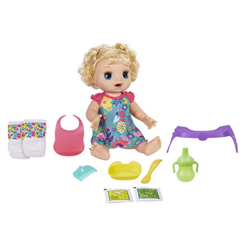 Baby Alive Happy Hungry Baby Blonde Curly Hair Doll, Not Mint