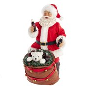 Coca-Cola Santa with Bear in Bag 10 1/2-Inch Table Piece
