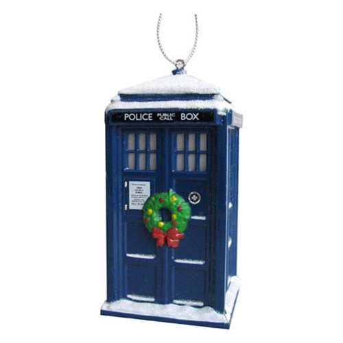 Doctor Who TARDIS with Wreath 4 1/4-Inch Ornament
