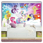 My Little Pony Friendship is Magic Clouds Chair Rail Giant Ultra-Strippable Prepasted Mural