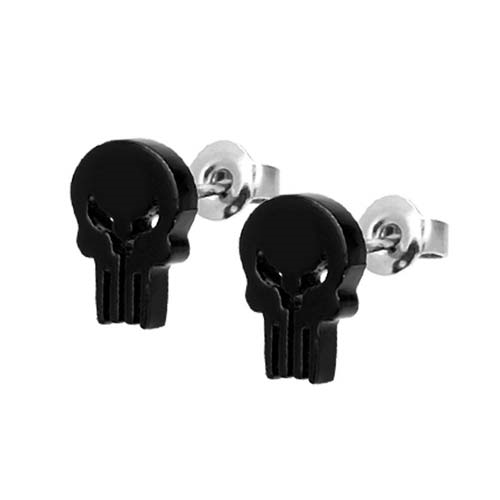 Punisher Black Stud Earrings