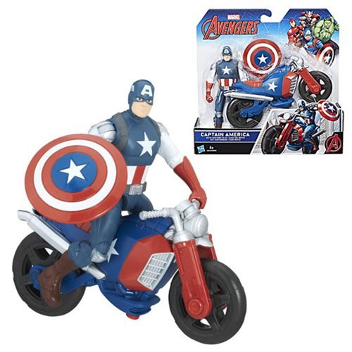 Avengers 6-Inch Captain America Action Figure with Motorcycle Vehicle