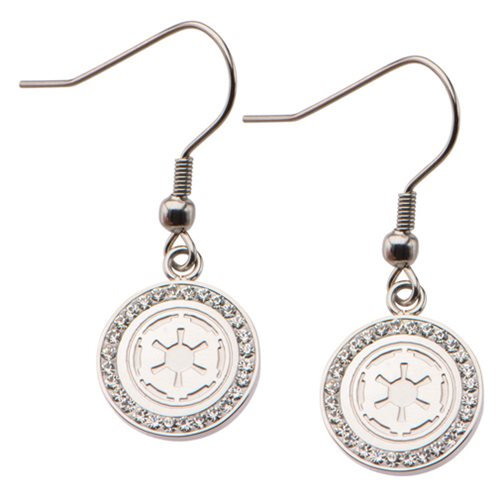 Star Wars Galactic Empire Symbol with Gems Stainless Steel Hook Dangle Earrings