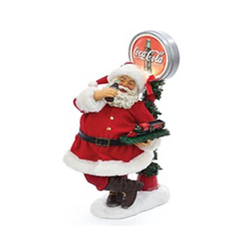 Coca-Cola Santa with LED Light-Up Coke Sign 14-Inch Tablepiece Statue