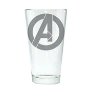 Marvel Avengers Logo Silhouette Etched Pint Glass