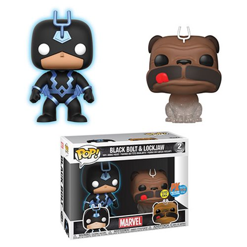 Marvel Teleporting Lockjaw and Glow-in-the-Dark Black Bolt Pop! Vinyl Figure 2-Pack - SDCC 2018 Previews Exclusive