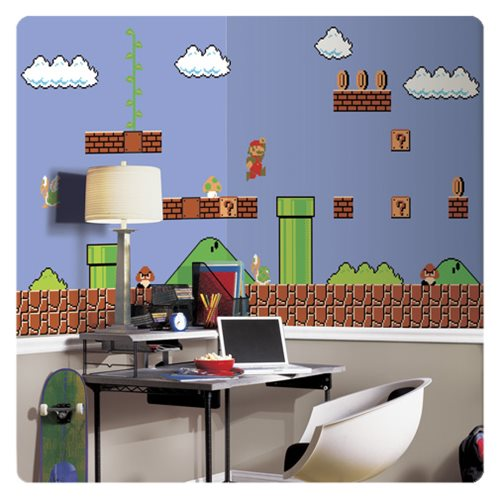 Super Mario Retro XL Chair Rail Prepasted Mural
