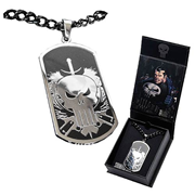 Punisher Skull Dog Tag and Chain Necklace