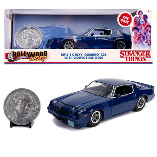 Hollywood Rides Stranger Things 1979 Chevy Camaro Z28 1:24 Scale Die-Cast Metal Vehicle with Coin, Not Mint