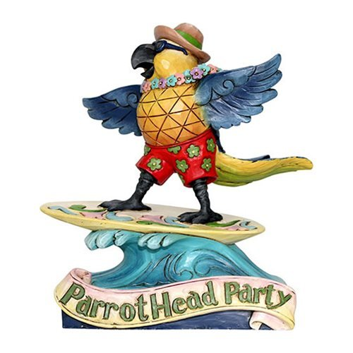 Margaritaville Surfing Parrot ParrotHead Party Heartwood Creek Statue by Jim Shore