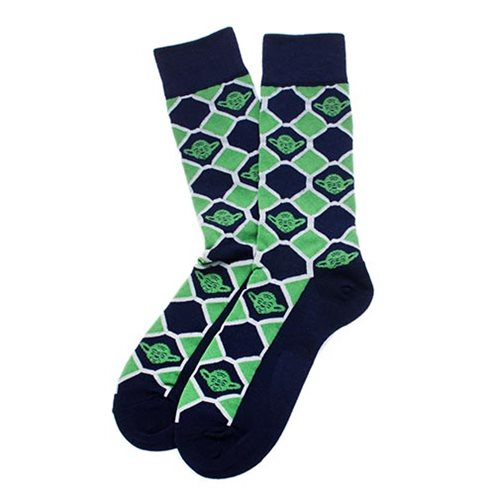 Star Wars Yoda Navy Checker Socks