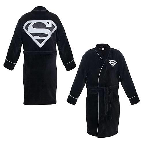2370d64bc3 Superman Black and Silver Cotton Bath Robe - Entertainment Earth